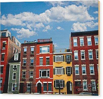 Boston Houses Wood Print by Elena Elisseeva