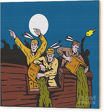 Boston Tea Party Raiders Retro Wood Print by Aloysius Patrimonio