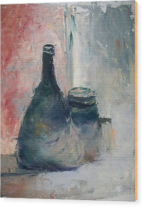 Bottle And Jar Wood Print by Sarah Farren