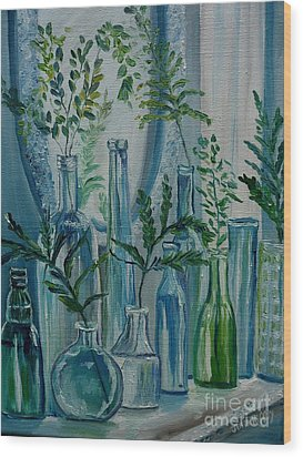 Wood Print featuring the painting Bottle Brigade by Julie Brugh Riffey