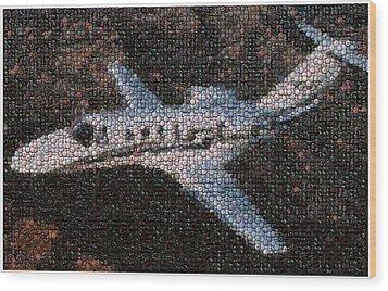 Bottle Cap Cessna Citation Mosaic Wood Print by Paul Van Scott