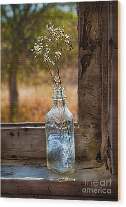 Bottle On Window Sill Wood Print