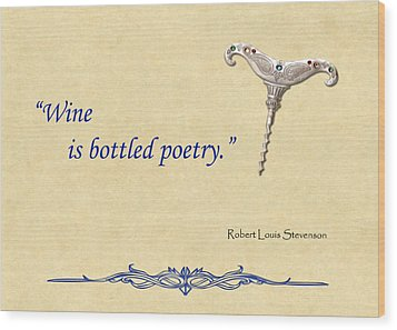 Bottled Poetry Wood Print by Elaine Plesser