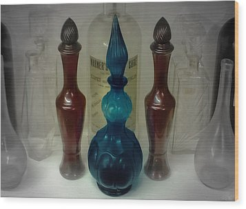 Bottled Up Wood Print by DigiArt Diaries by Vicky B Fuller