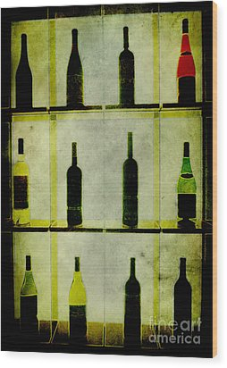 Bottles Wood Print by Alexander Bakumenko