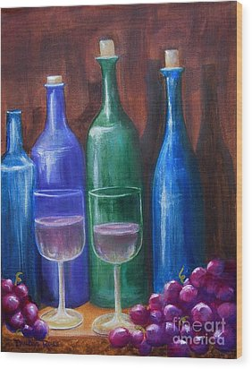 Bottles And Grapes Wood Print by Pauline Ross