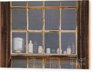 Bottles In The Window Wood Print by Vivian Christopher