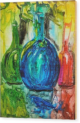 Wood Print featuring the painting Bottles by Mary Kay Holladay