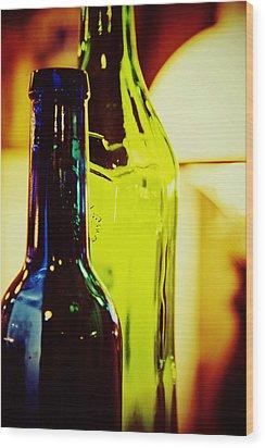 Bottles Wood Print by Toni Hopper