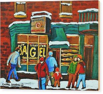 Boulangerie St.viateur Scene De Rue De Montreal En Hiver Wood Print by Carole Spandau