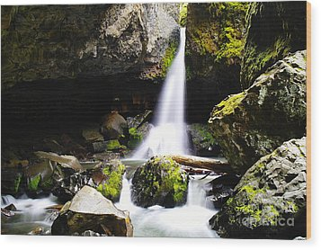 Boulder Cave Falls Revisited Wood Print by Jeff Swan