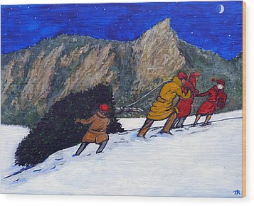 Boulder Christmas Wood Print by Tom Roderick
