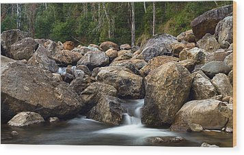 Boulders On The River Wood Print by Mark Lucey