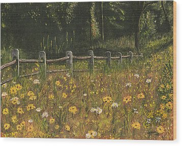 Wood Print featuring the painting boundary fence Swan Lake NY by Stuart B Yaeger