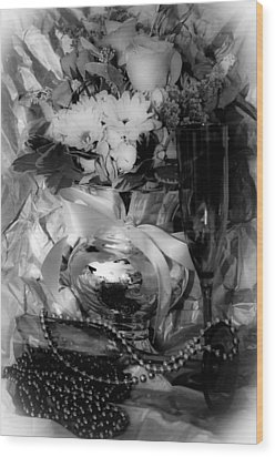 Bouquet And Beads Bw Wood Print by DigiArt Diaries by Vicky B Fuller