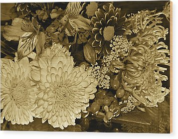 Bouquet In Sepia Wood Print by Phyllis Denton