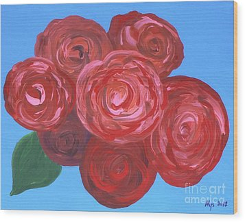 Wood Print featuring the painting Bouquet Of Roses by Alys Caviness-Gober