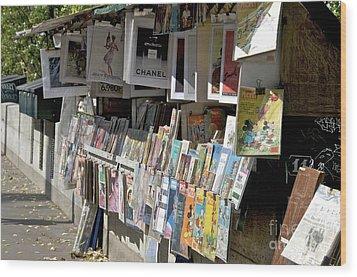Bouquiniste Book Seller At Quays Of Seine Paris Wood Print by Bernard Jaubert