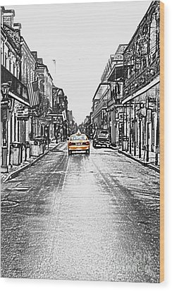 Bourbon St Taxi French Quarter New Orleans Color Splash Black And White Colored Pencil Digital Art Wood Print by Shawn O'Brien