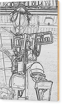 Bourbon Street Sign And Lamp Covered In Beads Black And White Photocopy Digital Art Wood Print by Shawn O'Brien