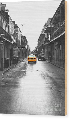 Bourbon Street Taxi French Quarter New Orleans Color Splash Black And White Film Grain Digital Art Wood Print by Shawn O'Brien