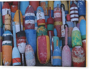 Bouys No Gulls Wood Print by Mike Martin