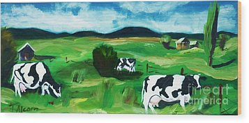 Wood Print featuring the painting Bovine Bliss by Therese Alcorn
