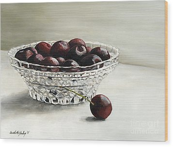 Bowl Full Of Cherries Wood Print by Charlotte Yealey