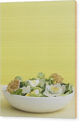Bowl Of Caesar Salad With Egg Wood Print by Cultura/BRETT STEVENS