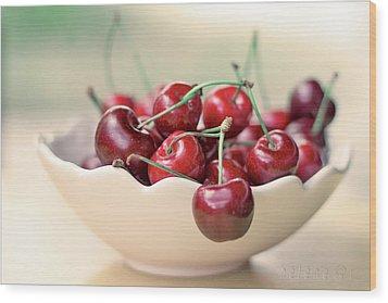 Bowl Of Cherries Wood Print by Photo Hélène