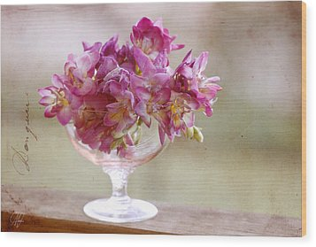 Bowl Of Freesias Wood Print by Margaret Hormann Bfa