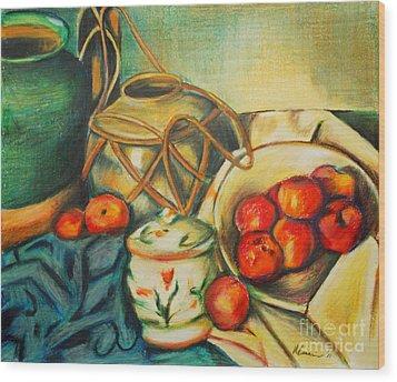 Bowl Of Peaches Wood Print by Joe McGinnis