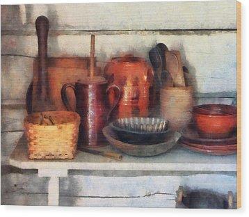 Bowls Basket And Wooden Spoons Wood Print by Susan Savad