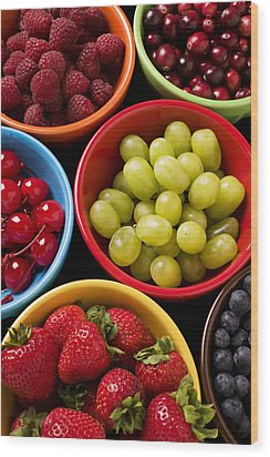 Bowls Of Fruit Wood Print