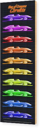 Wood Print featuring the drawing 1959 Stingray Box Of Crayons by K Scott Teeters
