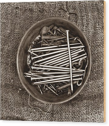 Box Of Tacks Wood Print by Bernard Jaubert