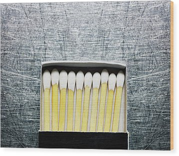 Box Of Wooden Matches On Stainless Steel. Wood Print by Ballyscanlon