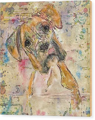 Boxer Babe Wood Print by Marilyn Sholin