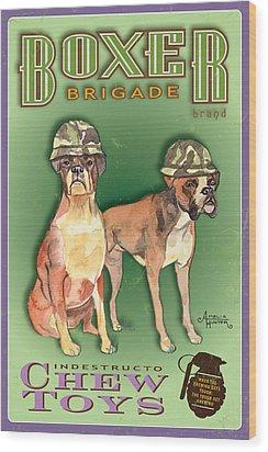 Boxer Brigade Chew Toys Wood Print by Amelia Hunter
