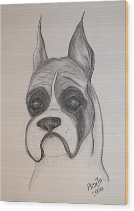 Boxer Wood Print by Maria Urso