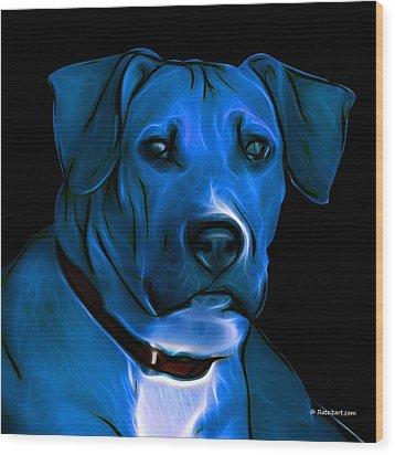 Boxer Pitbull Mix Pop Art-blue Wood Print by James Ahn