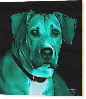 Boxer Pitbull Mix Pop Art - Cyan Wood Print by James Ahn