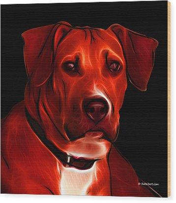 Boxer Pitbull Mix Pop Art - Red Wood Print by James Ahn