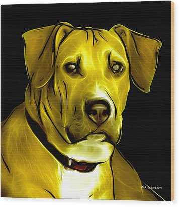 Boxer Pitbull Mix Pop Art - Yellow Wood Print by James Ahn
