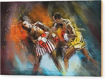 Boxing 01 Wood Print by Miki De Goodaboom