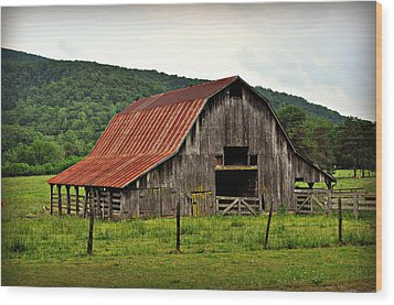 Boxley Barn Wood Print by Marty Koch