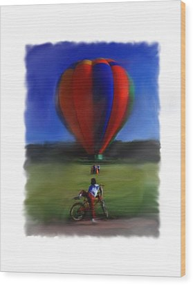 Wood Print featuring the digital art Boy  And Balloon by Mary M Collins