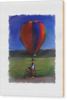 Boy  And Balloon Wood Print
