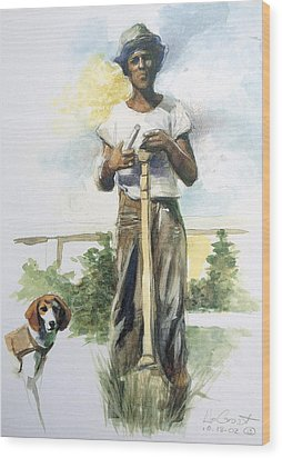 Boy And Dog Wood Print by Gregory DeGroat