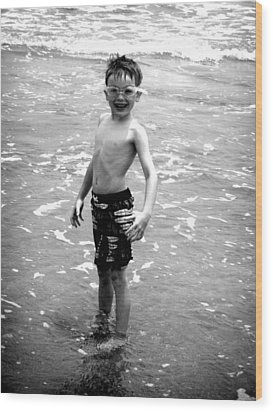 Wood Print featuring the photograph Boy At The Ocean 2 by Kelly Hazel